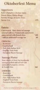 Oktoberfest menu